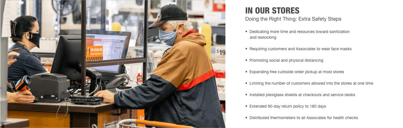 In Our Stores Doing the Right Thing: Extra Safety Steps