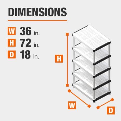 36 in. W x72 in. H x18 in. D plastic storage shelf
