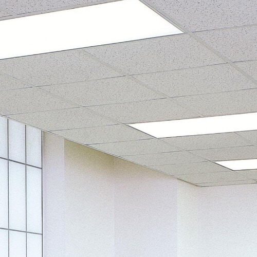 white drop ceiling with light panels