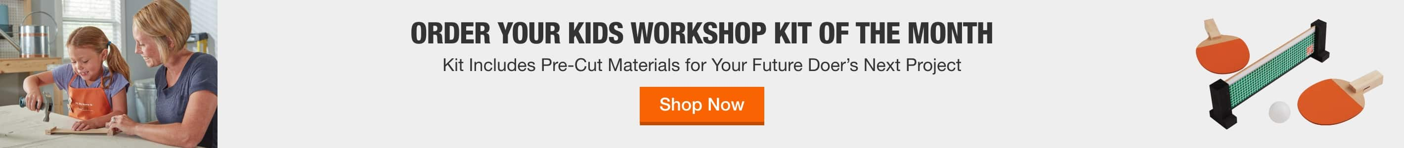 ORDER YOUR KIDS WORKSHOP KIT OF THE MONTH - Kit includes pre-cut materials for your future doer's next project