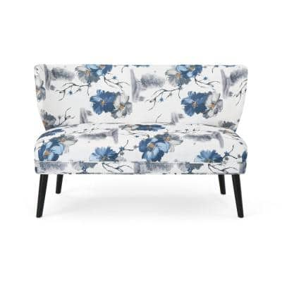 Desdemona Contemporary Blue and Black Floral Fabric Settee