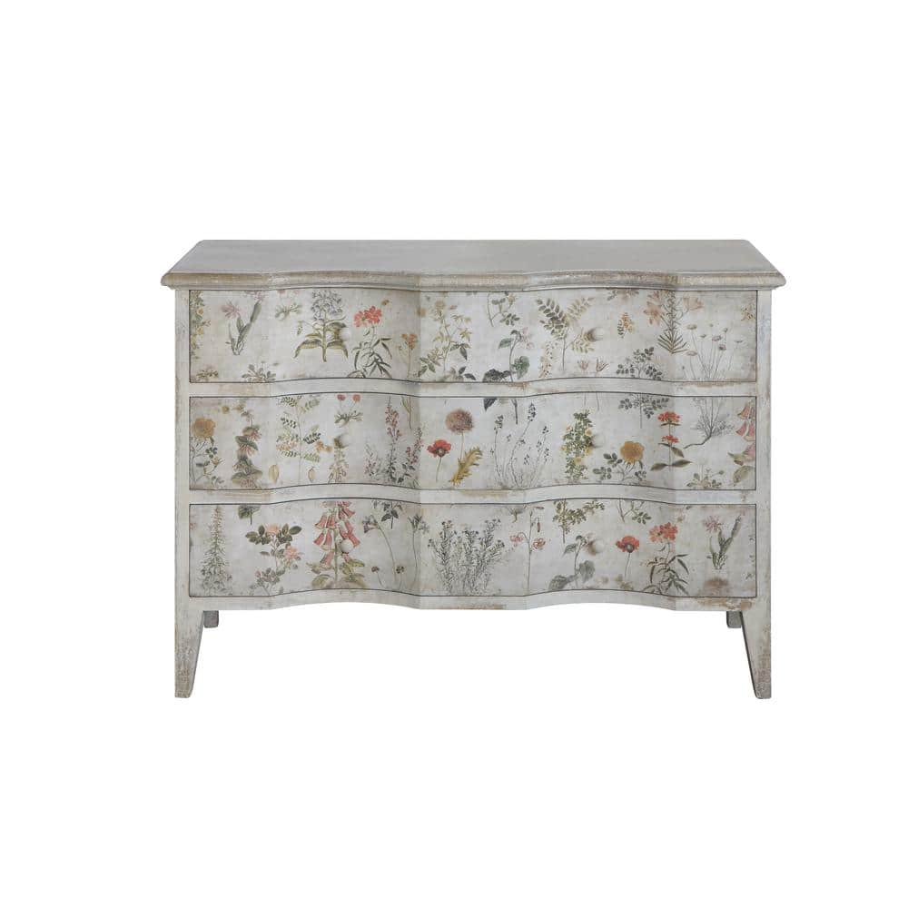 Vintage Floral Cabinet with 3-Drawers