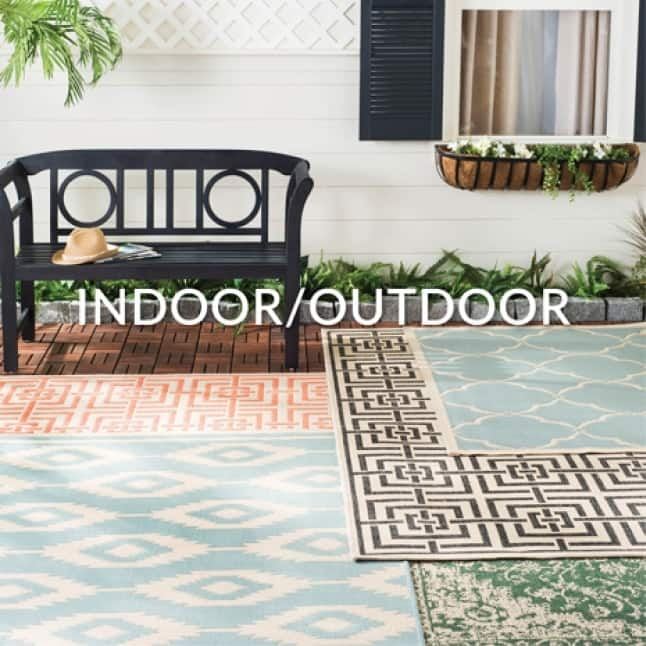 Indoor/Outdoor rugs can be used indoors or out as they are water and sunlight resistant. They can be placed on the porch, patio, entryway or in the kitchen.