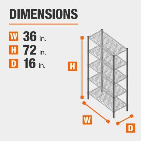 36 in. W x72 in. H x16 in. D heavy duty shelves
