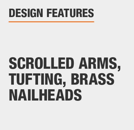 Arm Chair with Scrolled Arms, Tufting, Brass Nailheads