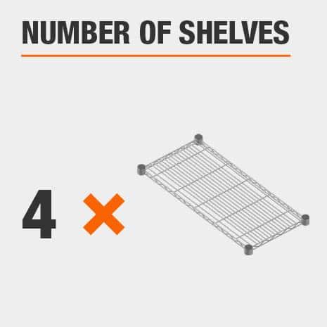 Shelving unit includes 4 tiers
