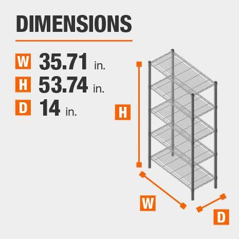 35.71 in. W x53.74 in. H x14 in. D heavy duty shelves