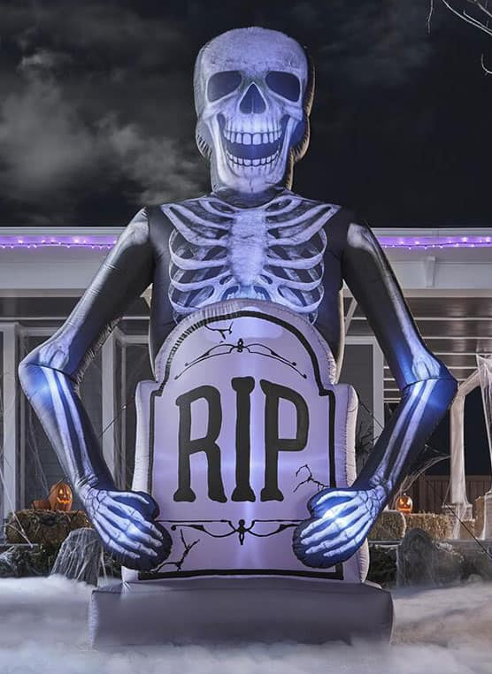 Inflatable Skeleton with Tombstone