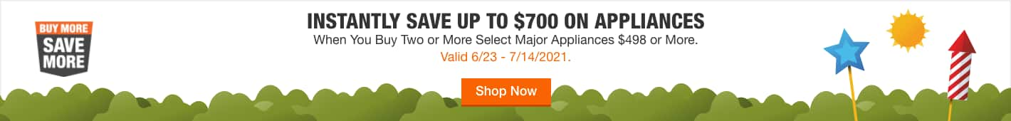 INSTANTLY SAVE UP TO $700 ON APPLIANCES. When You Buy Two or More Select Major Appliances $498 or More.  Valid 6/23 - 7/14/2021. Shop Now.