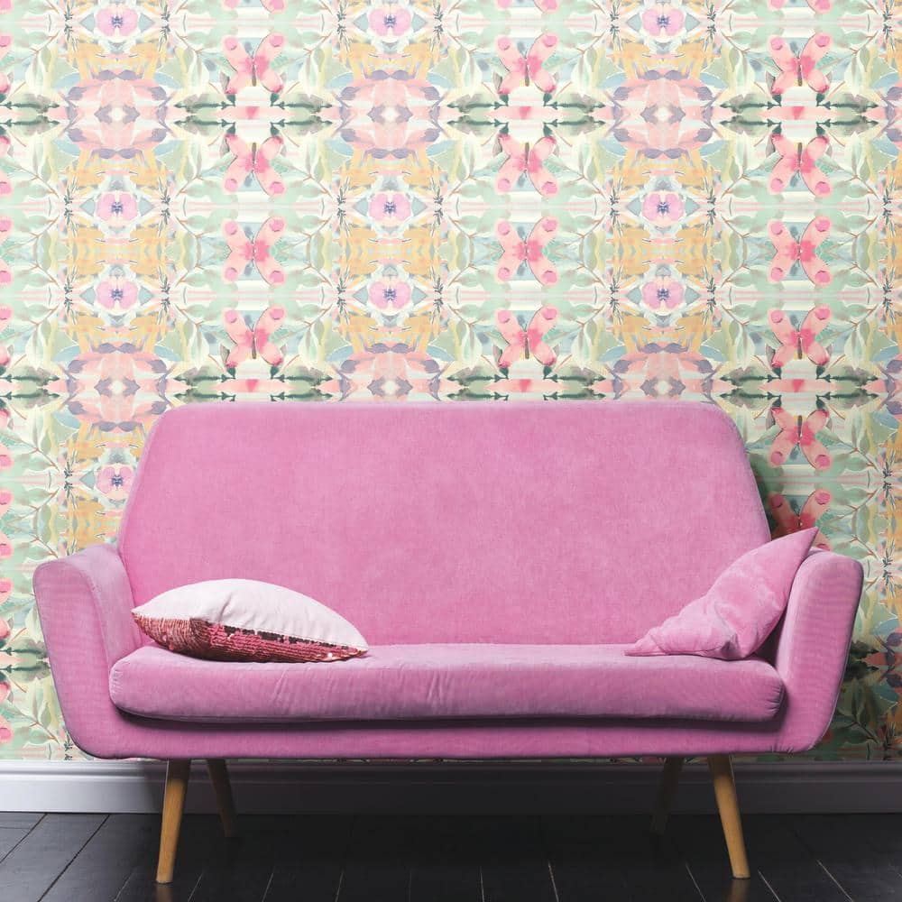 Multi-Colored Synchronized Floral Peel and Stick Wallpaper