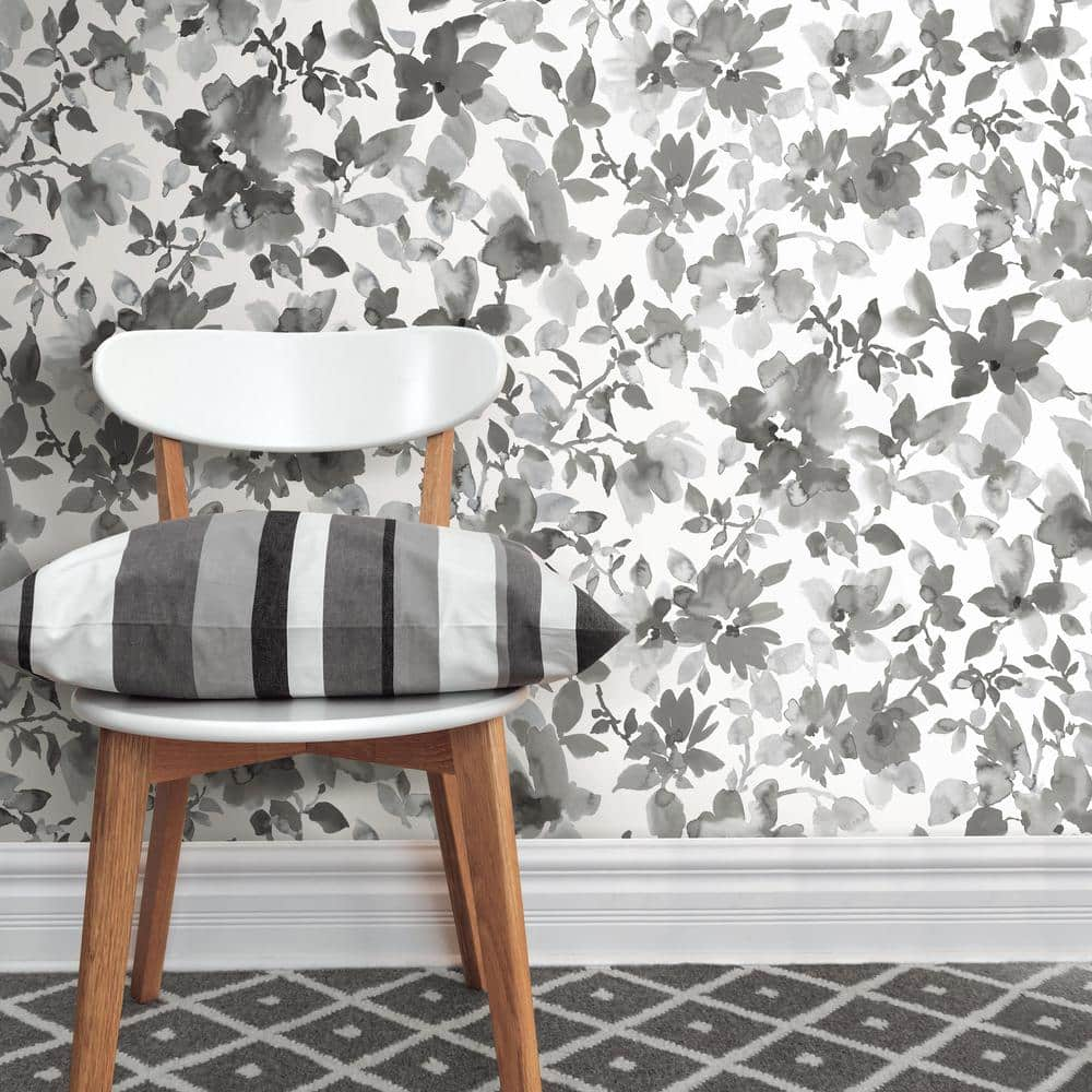 Black Watercolor Floral Peel and Stick Wallpaper