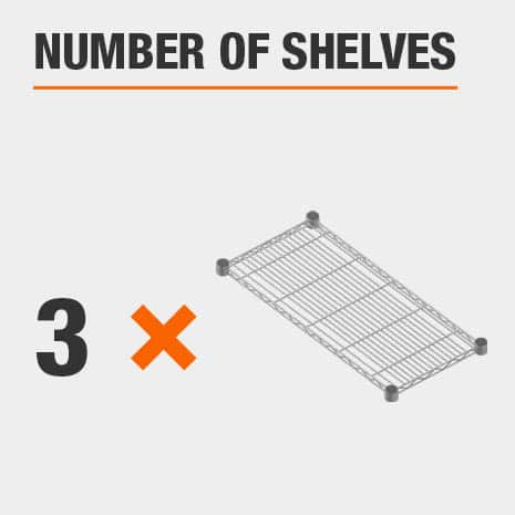 Shelving unit includes 3 tiers