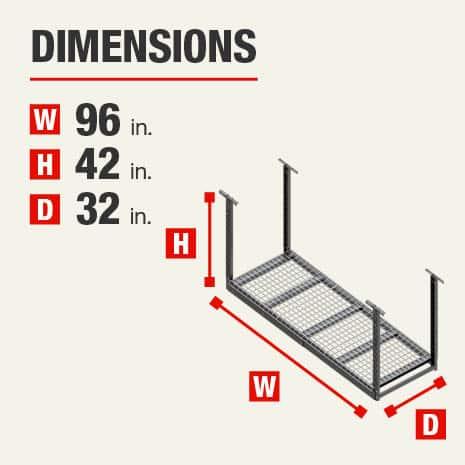 96 in. W x42 in. H x32 in. D steel storage shelves