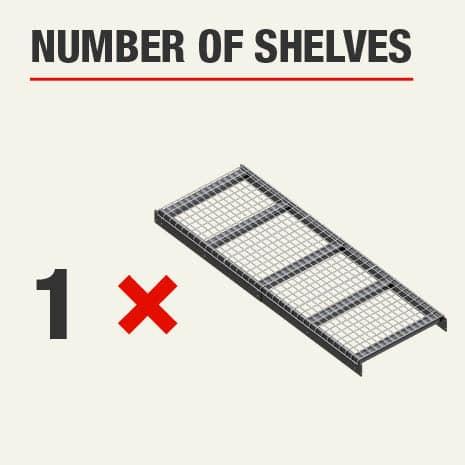 Shelving unit includes 1 tier