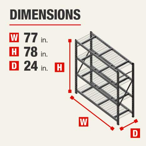 77 in. W x 78 in. H x 24 in. D I-Beam Steel Storage Shelves