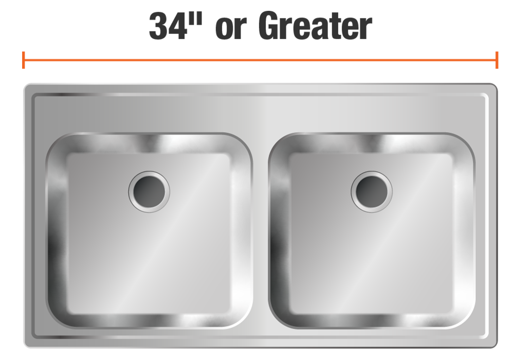 34 inch or greater sinks