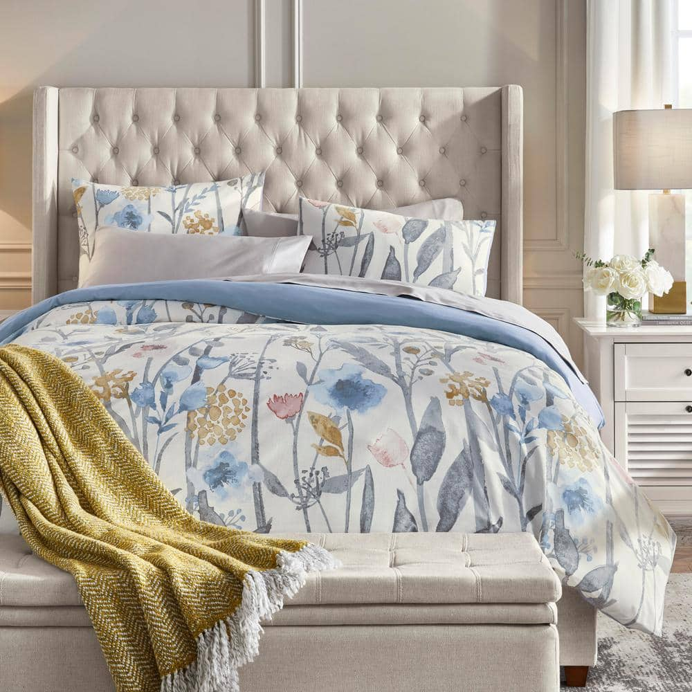 Purcell 3-Piece Washed Denim Botanical Full/Queen Duvet Cover Set