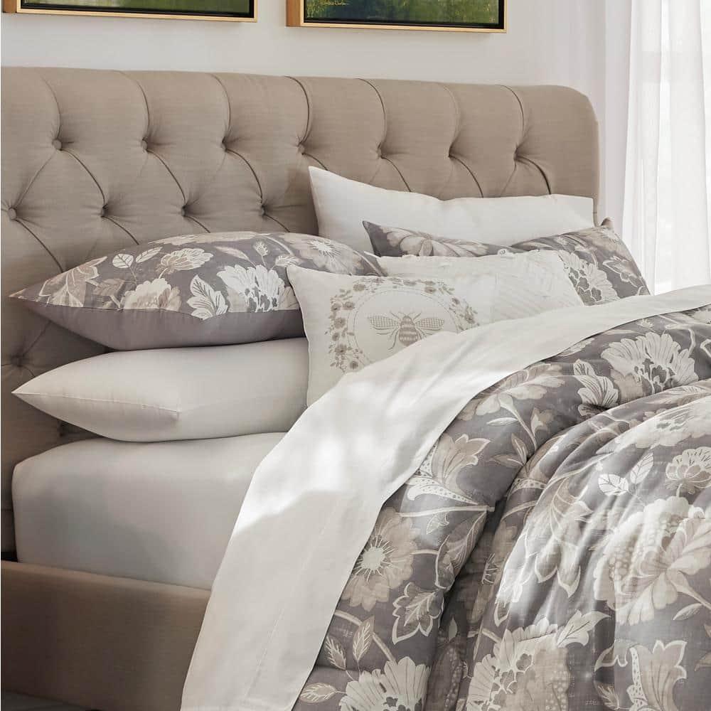 Larkspur 5-Piece Stone Gray and Khaki Cotton Queen Comforter Set