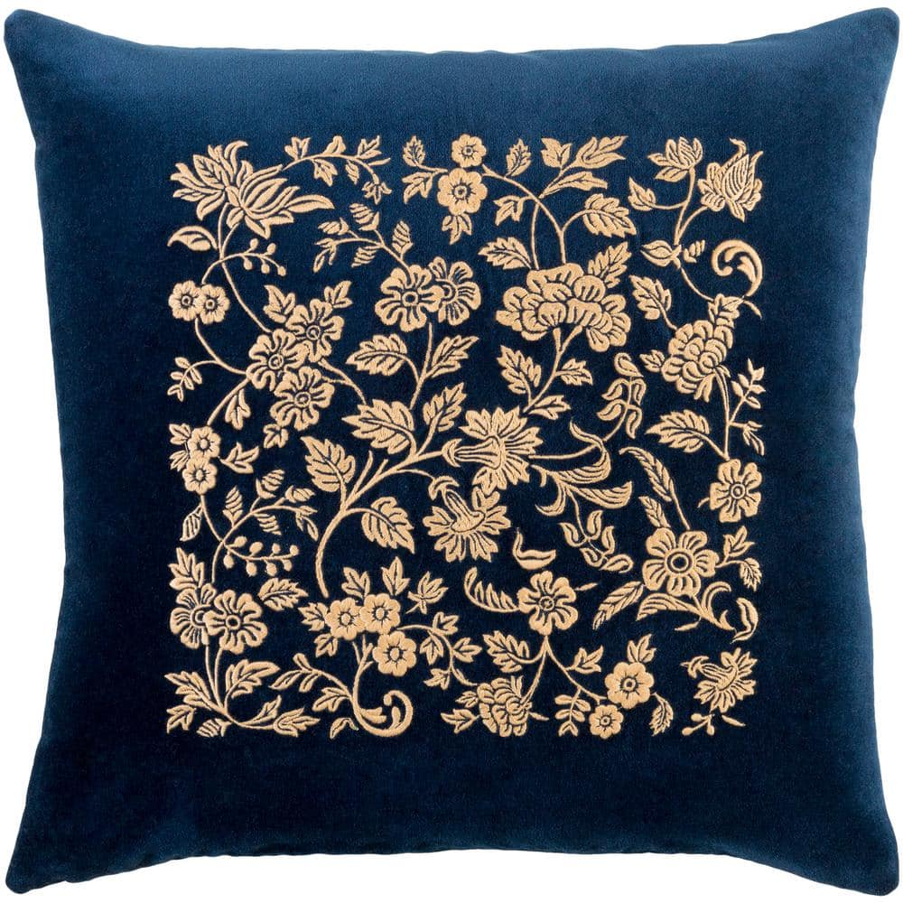 Sindri Navy Floral Polyester 22 in. x 22 in. Throw Pillow