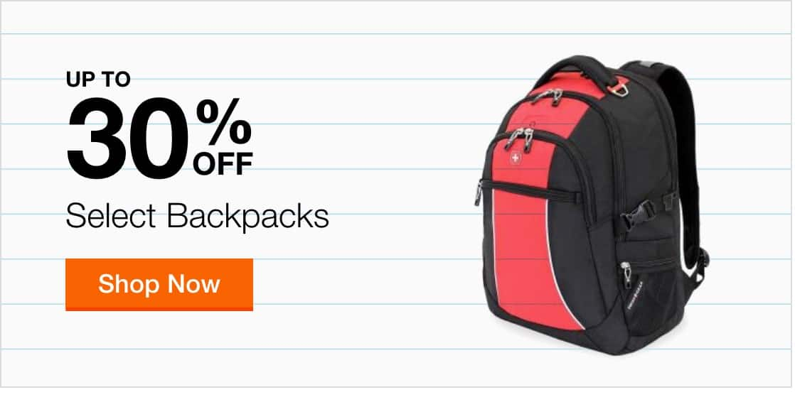 Up to 30% off Backpacks