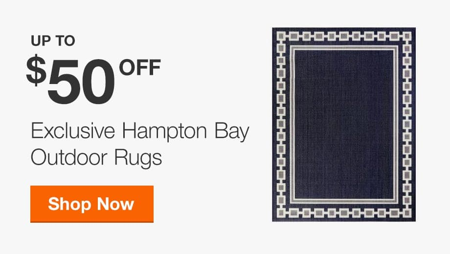 Up to $50 off Select Exclusive Hampton Bay Outdoor Rugs