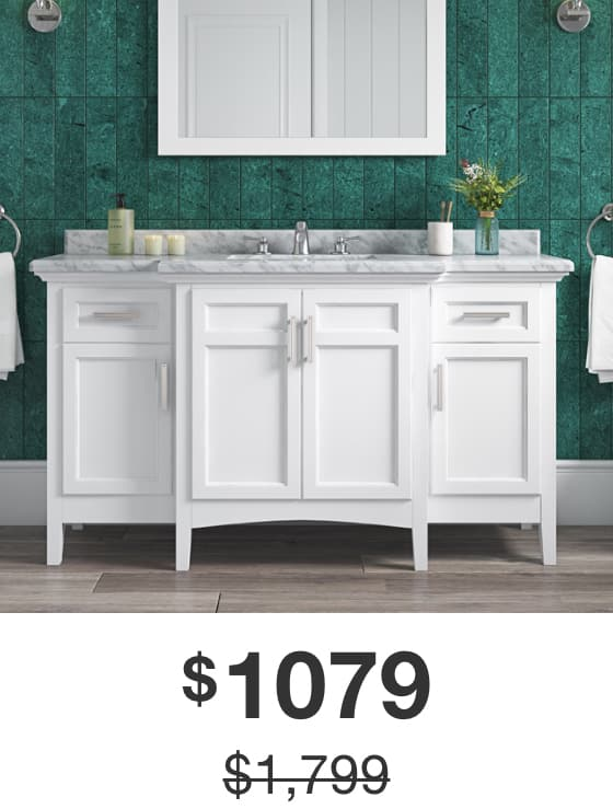 Sassy 60 in. White Vanity with Carrara Marble Top