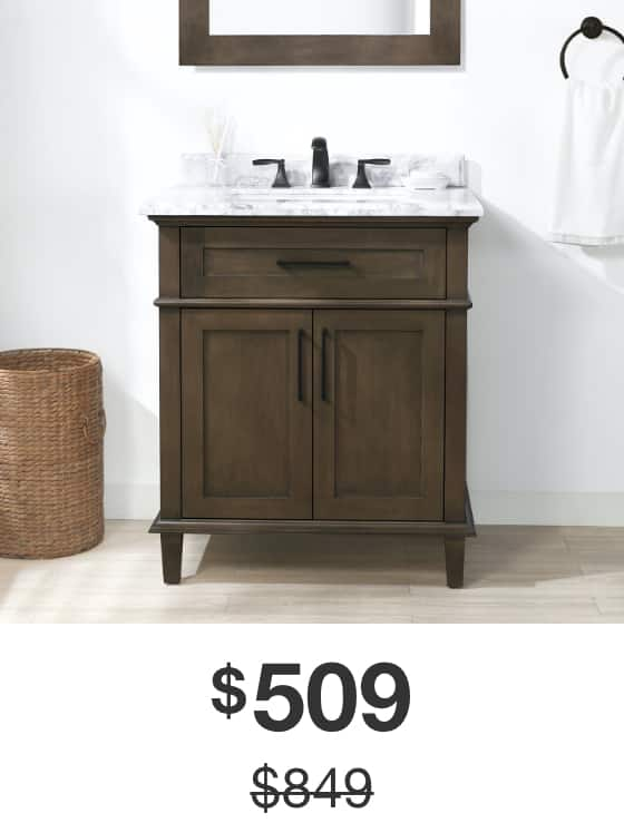 Sonoma 30 in. Almond Latte Vanity with Carrara Marble Top