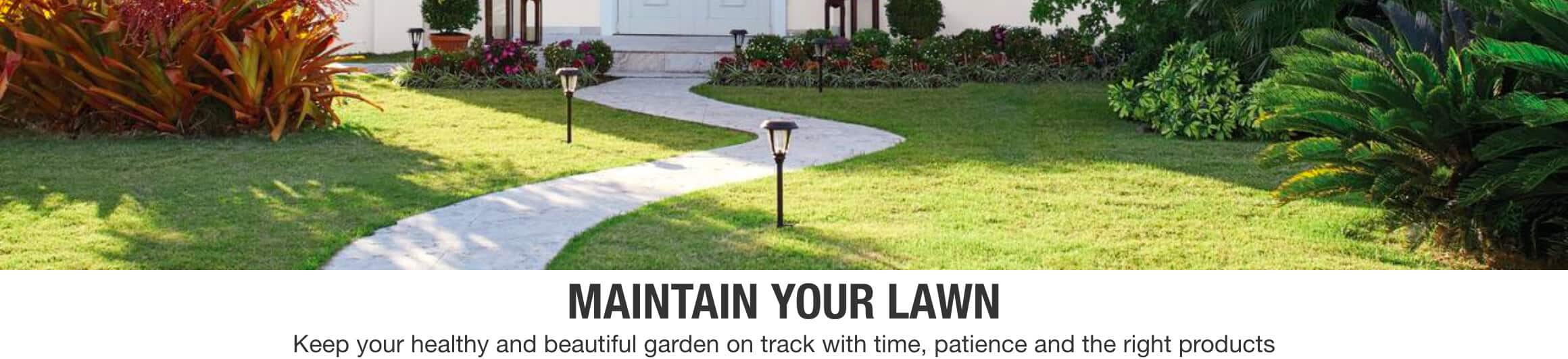 MAINTAIN YOUR LAWN Keep your garden healthy and beautiful with time, patience and the right products