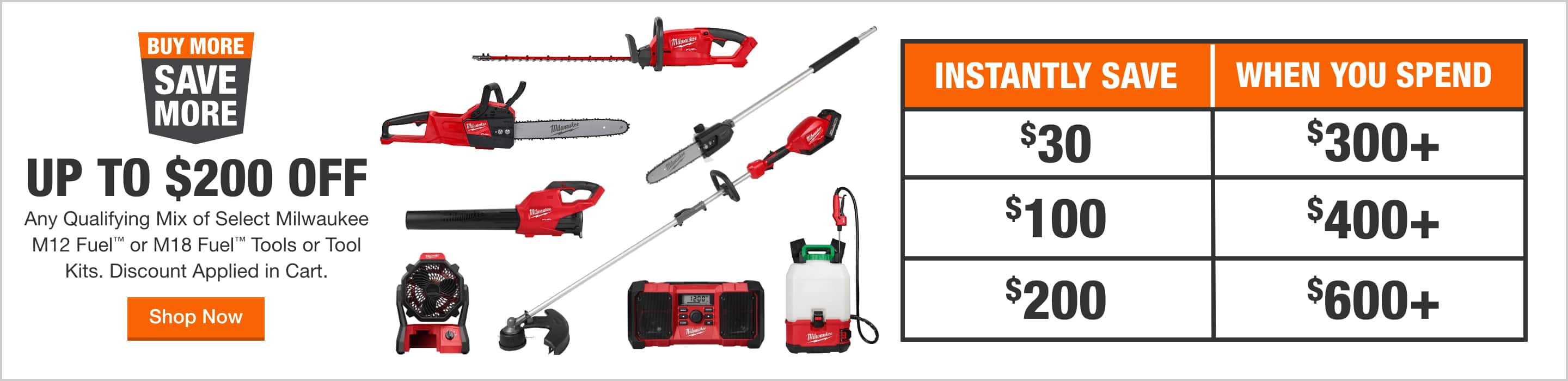 UP TO $200 OFF Any Qualifying Mix of Select Milwaukee M12 Fuel™ & M18 Fuel™ Tools, System Starter Kits Discounts Applied in Cart