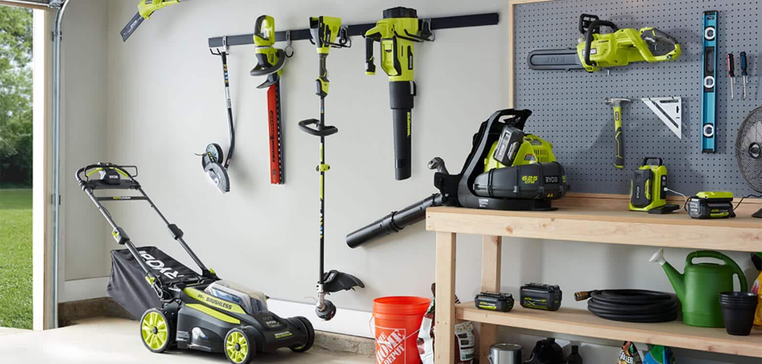 Several Ryobi power tools in garage