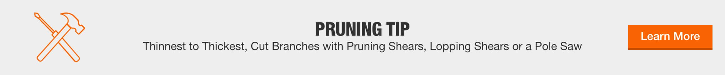 Pruning Tip - Thinnest to thickest, cut branches with pruning shears, lopping shears or a pole saw.