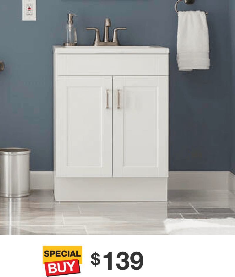 Penford 24 in. White Vanity with Cultured Marble Top
