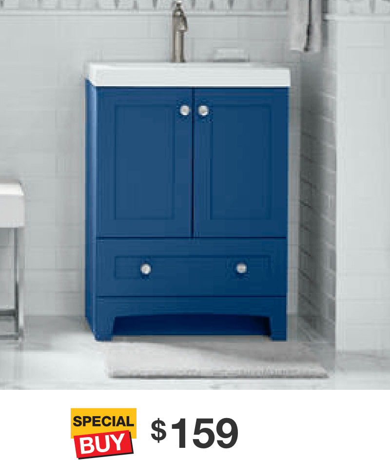 Thornbriar 24.50 in. Admiral Blue Vanity with Cultured Marble Top