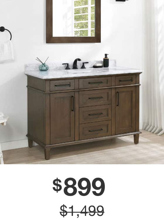 Sonoma 48 in. Almond Latte Vanity with Carrara Marble Top