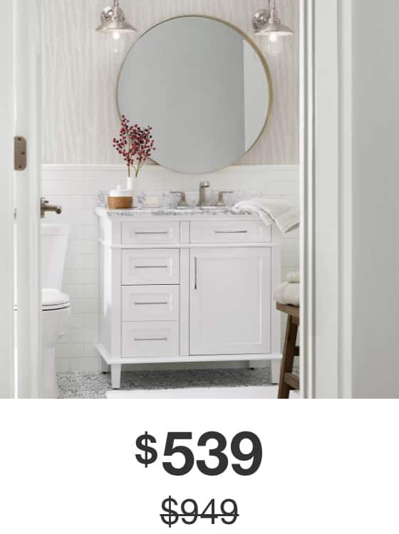 Sonoma 36 in. White Vanity with Carrara Marble Top