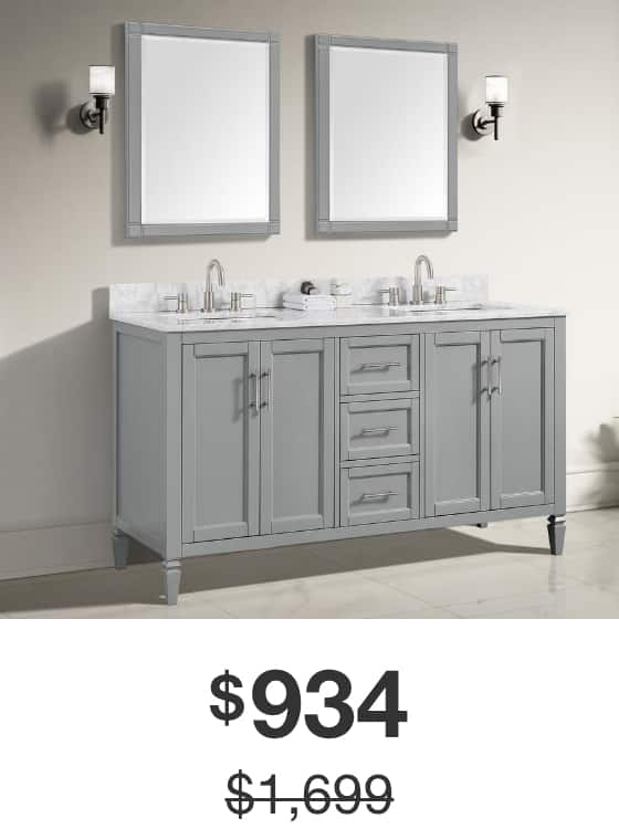 Stockham 61 in. Chilled Gray Vanity with Marble Top