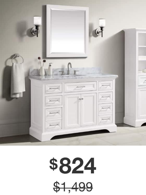 Windlowe 49 in. White Vanity with Carrara Marble Top