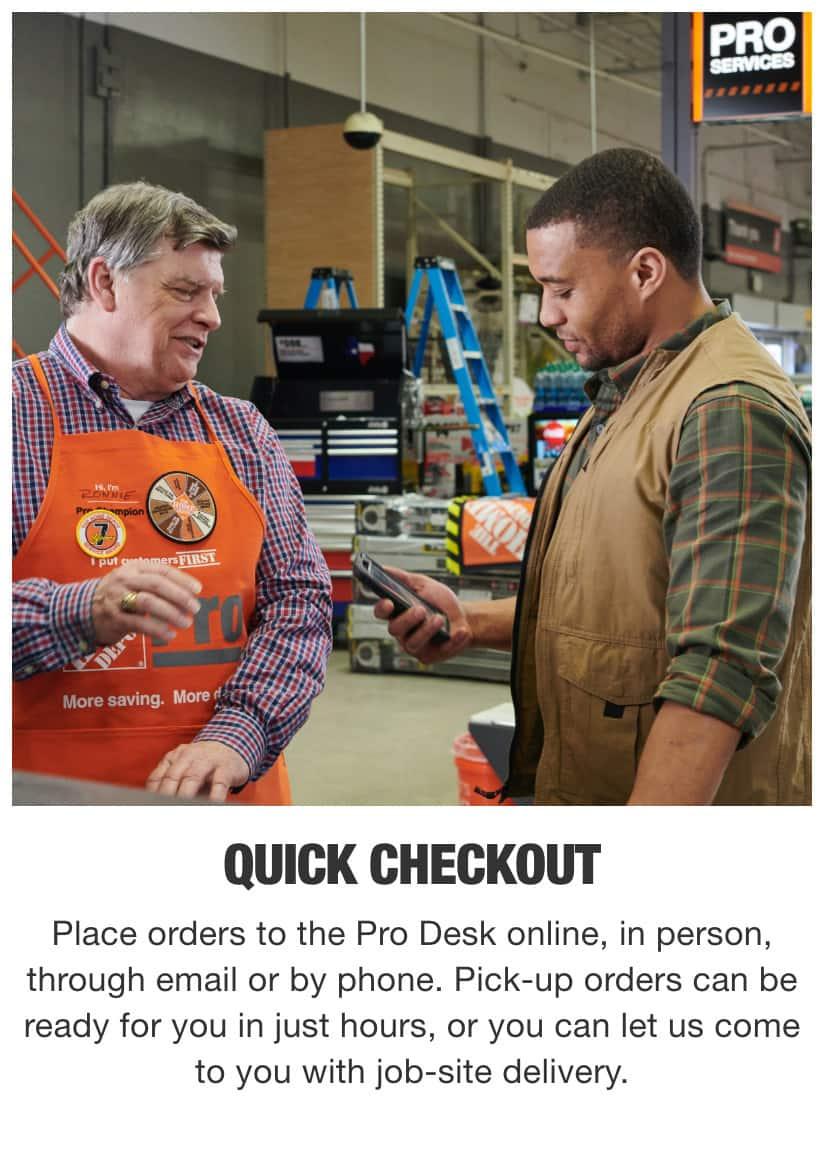 Home Depot Pro Desk Associate Helping Contractor Checkout