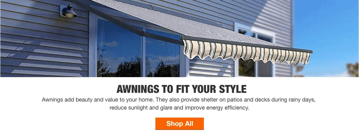 AWNINGS TO FIT YOUR STYLE - Awnings add beauty and value to your home. They also provide shelter on patios and decks during rainy days, reduce sunlight and glare, and improve energy efficiency. Shop All