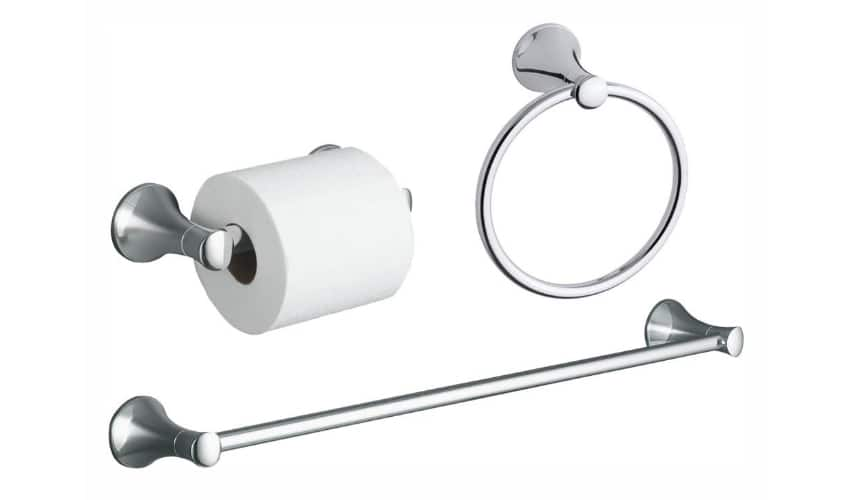 photo of a chrome towel bar, towel ring and toilet paper holder set
