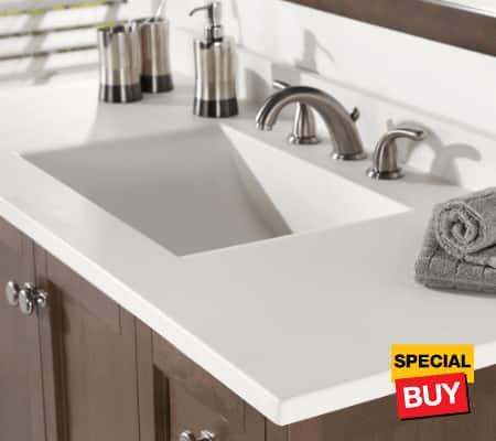 Bath savings vanity tops
