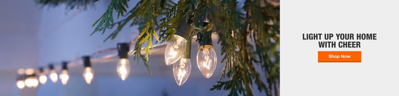 Christmas lights hero image. Light up your home with cheer