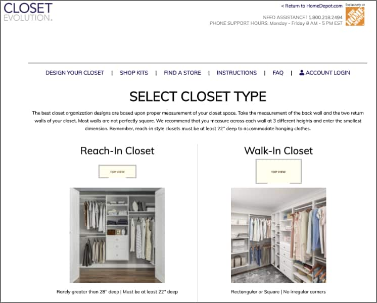 Create your own Closet Evolution closet with this tool