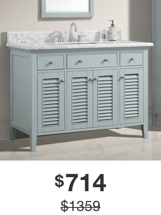 Fallworth 49 in. Light Green Vanity with Carrara Marble Top