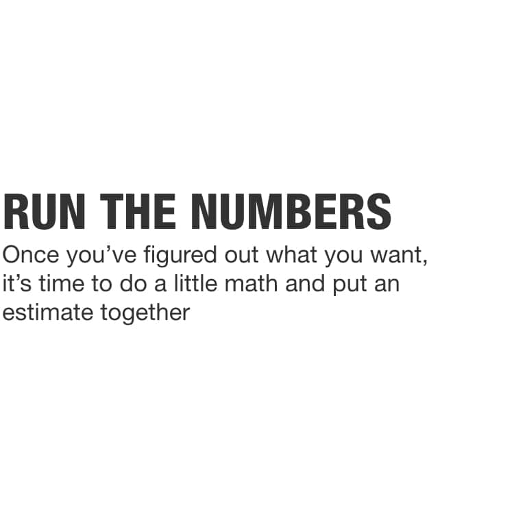 Once you've figured out what you want, it's time to do a little math and put an estimate together