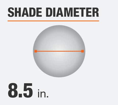 The shade diameter for this product is 8.5 in.