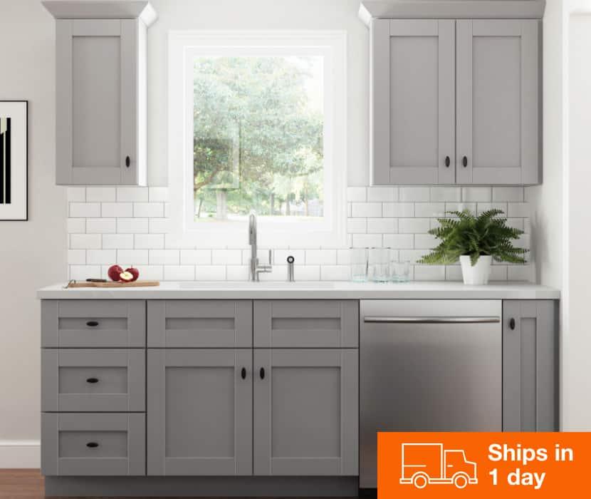 Hampton Bay Gray Shaker Cabinets