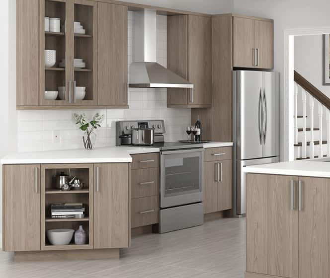 Hampton Bay Designer Series Edgeley Driftwood Cabinets