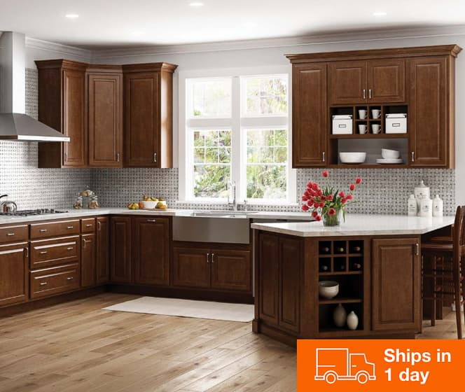 Hampton Bay Hampton Cognac Cabinets