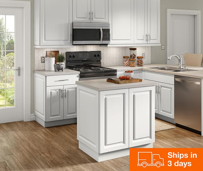 Benton Frameless White Cabinets